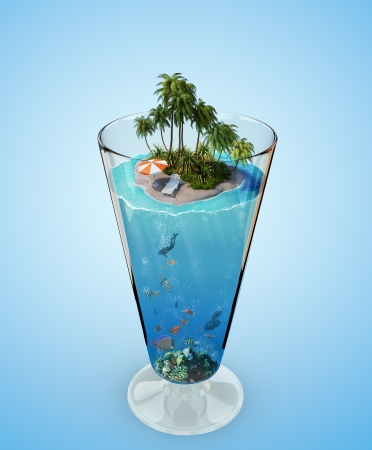 Tropical island in the glass photo