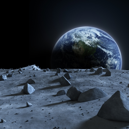 Earth seen from the moon Stock Photo - 23942659