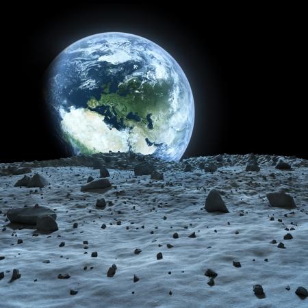 noche y luna: Tierra vista desde la Luna Foto de archivo