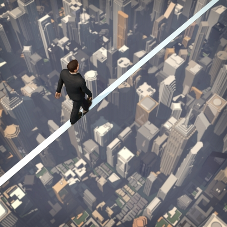 acrobatic: Business man walk on the building