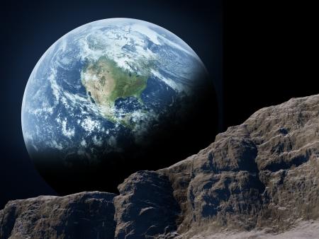 superficie: Tierra vista desde la Luna Foto de archivo