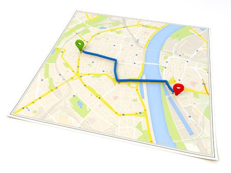 simbolo: mapa de la ciudad con la representación 3d Pin Punteros con Foto de archivo