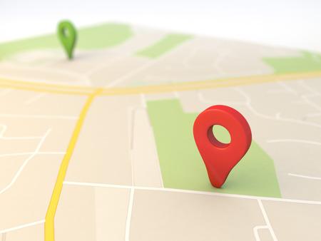 Mapa de la ciudad con la representación 3d Pin Punteros con Foto de archivo - 26041196