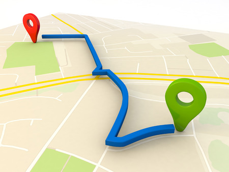 gps navigation: city map with Pin Pointers 3d rendering image Stock Photo