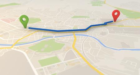 市内地図ピン ポインターと 3 d のレンダリング画像