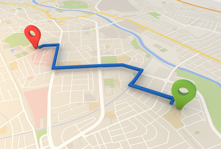 route map: city map with Pin Pointers 3d rendering image Stock Photo
