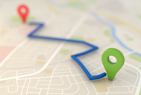 핀 포인터 3d 렌더링 이미지와 도시지도