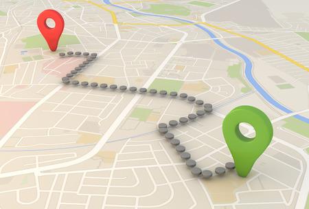 Mapa de la ciudad con la representación 3d Pin Punteros con Foto de archivo - 26785768