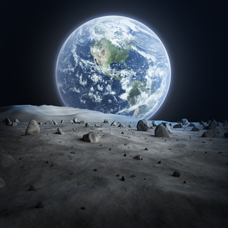 Tierra vista desde la Luna Foto de archivo