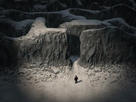 Man entering the maze Standard-Bild