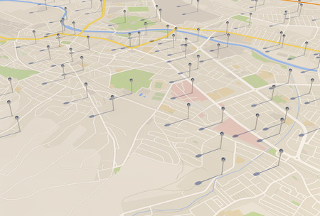 city map with Pin Pointers 3d rendering image Banco de Imagens