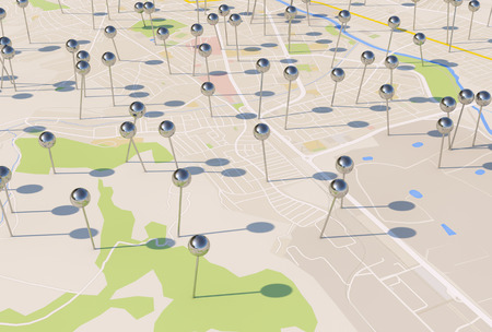 city map with Pin Pointers 3d rendering image Фото со стока