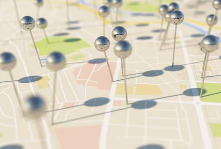 Stadsplattegrond beeld Speld Pointers 3D-rendering met Stockfoto - 27507220