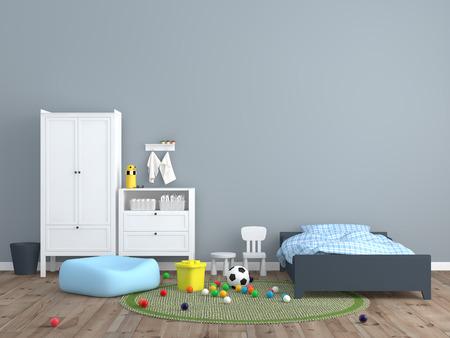 아이 방 인테리어 3D 렌더링 이미지