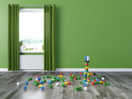 play of color: kids room Interior 3d rendering image