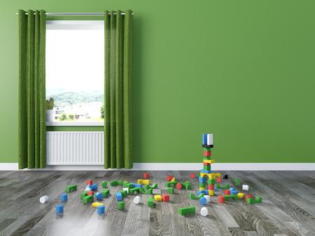 children at play: kids room Interior 3d rendering image
