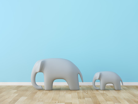 room wall: Cute elephant in the room Stock Photo