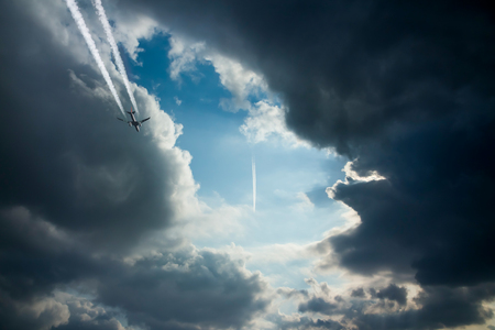 contrail: More than one airplanes and contrail Stock Photo