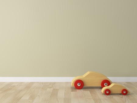 coche de juguete de madera en la habitación de los niños