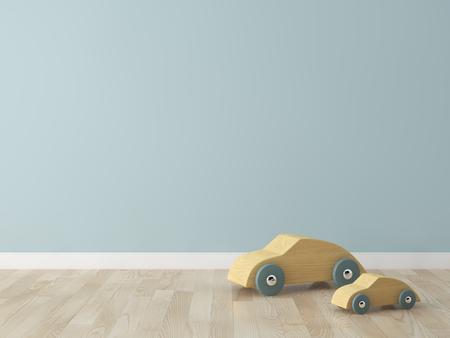 Auto giocattolo di legno nella camera dei bambini Archivio Fotografico - 54908795