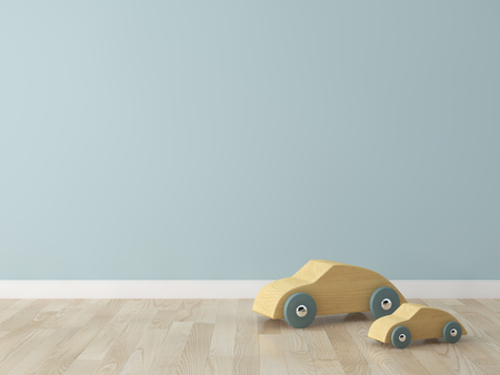 wooden car toy in the kids room 免版税图像 - 54908795