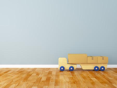 kidsroom: Cardboard box and track in the nursery Stock Photo