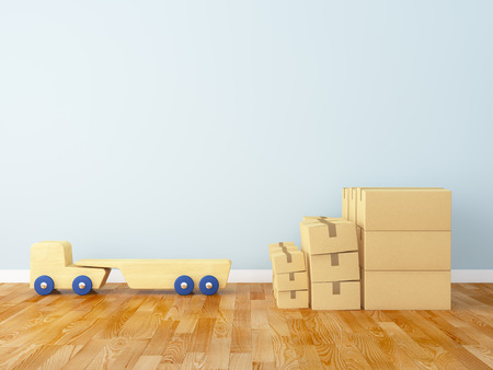 nursery room: Cardboard box and track in the nursery Stock Photo