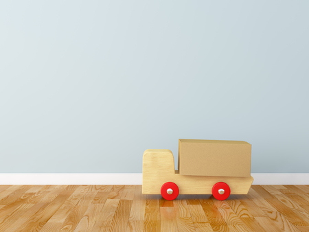 empty box: Cardboard box and track in the nursery Stock Photo