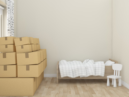 kidsroom: Childrens room to move rendering image Stock Photo