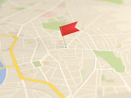 Locator flag on a city map Фото со стока