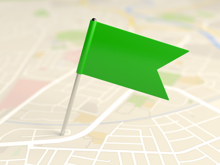 rout: Locator flag on a city map Stock Photo