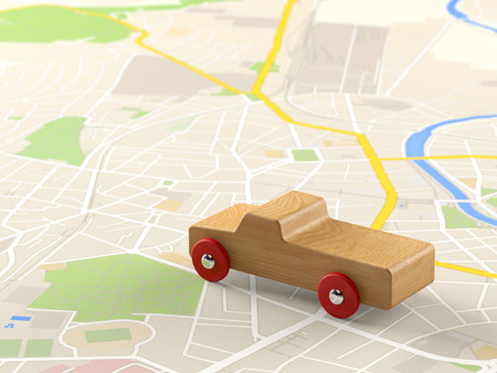 rout: toy car on a city map
