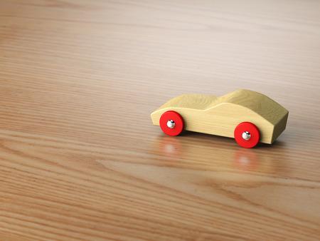 juguetes de madera: Enfriar coche de juguete de madera Foto de archivo