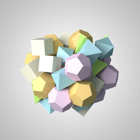 chaotic: Abstract 3d rendering of chaotic polygon particles.