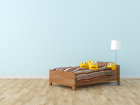 Funny toy in kids bed room Interior 3D rendering image 免版税图像