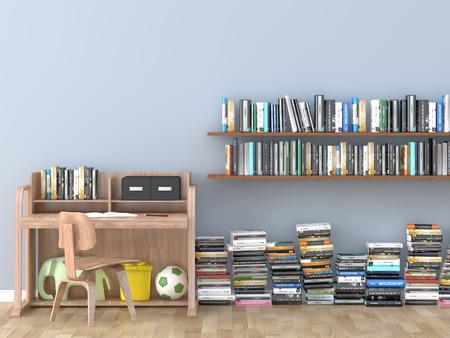 インテリア本棚部屋図書館子供室 3 D 画像