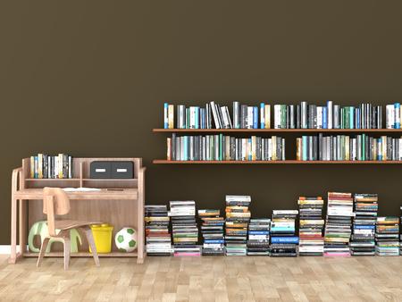 本棚ルーム ライブラリ子供部屋 3 D イメージをインターします。