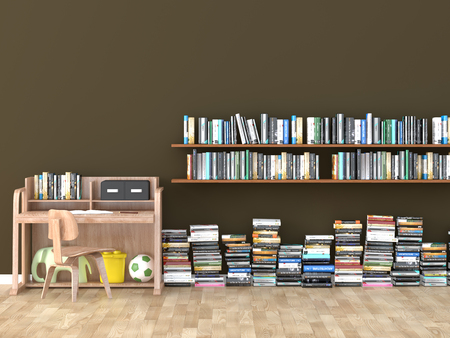 interior bookshelf room library kids room 3D image