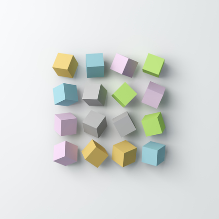 Polygon cube background. Lay flat, top view. 3D image