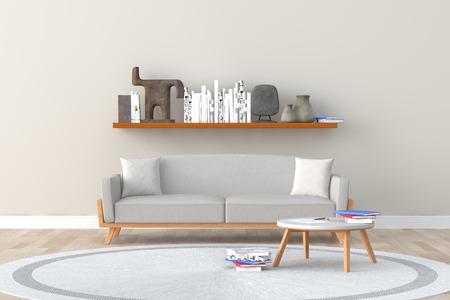 interior design of a room with sofa
