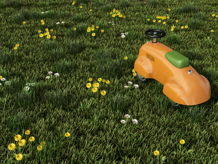 A toy car on the lawn. 3D rendering