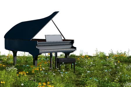 피아노 정원에서. 3D 렌더링