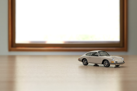toy car on the table. 3D rendering an image.