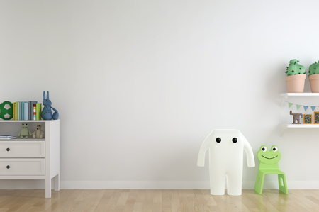 A shelf, toys and white wooden cabinet against a wall