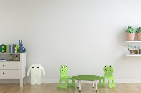 kids room interior. Interior scandinavian style. 3D rendering and 3D illustration