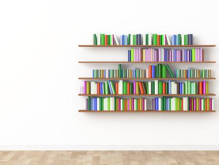 interior bookshelf room library. 3d rendering