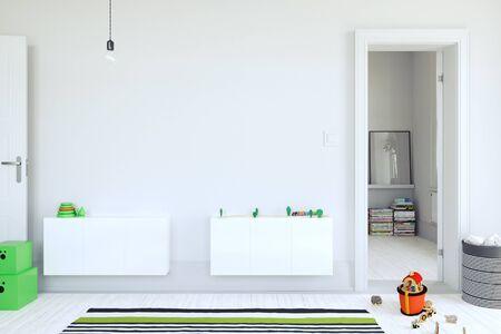 Kids room interior. mock up wall art. 3d rendering, 3d illustration.