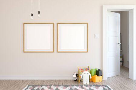 Rendering 3D in stile scandinavo della stanza dei bambini