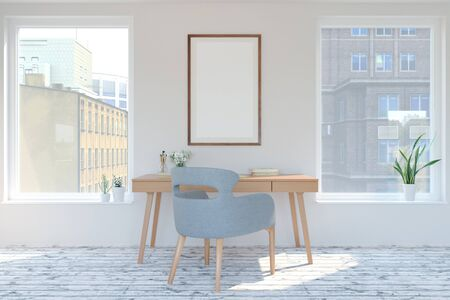 home interior in scandinavian style. Mock-up interior with poster. 3d Illustration.