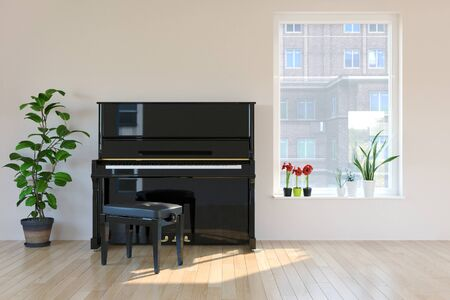 piano room interior in scandinavian style. Mock-up interior. 3d Illustration. 免版税图像